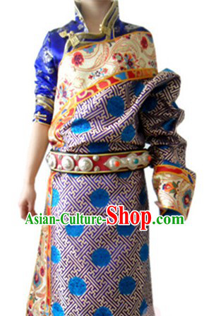 Traditional Chinese Female Tibetan Robe Complete Set