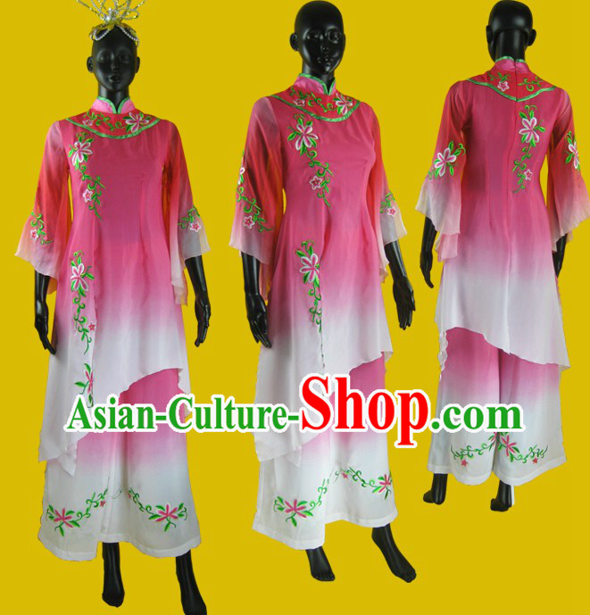 Chinese Classical Embroidered Flower Dance Costume and Headpiece for Women