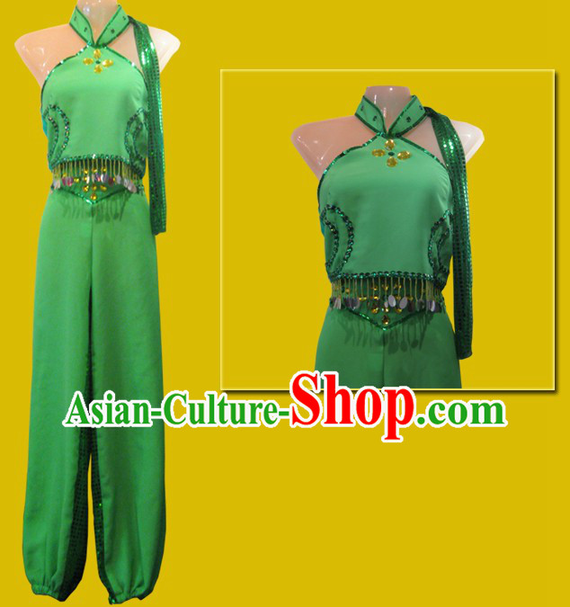 Chinese Classical Green Dance Costumes for Women