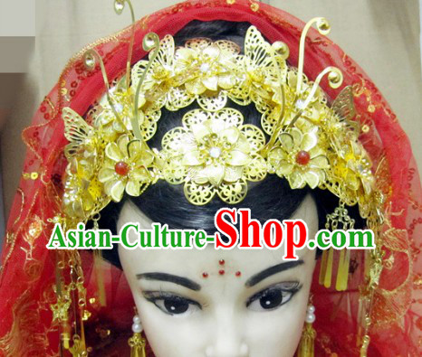Traditional Chinese Wedding Headpiece and Veil for Brides