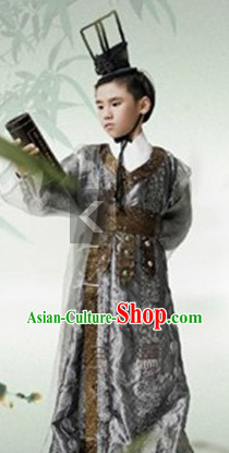 Ancient Chinese Han Dynasty Emperor Costumes and Crown for Boys