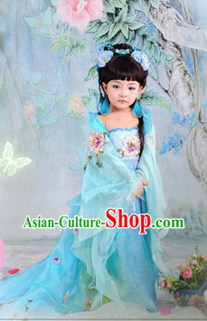 Ancient Chinese Blue Princess Clothing for Girls
