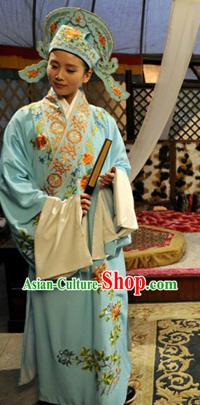 Chinese Beijing Opera Light Blue Costumes and Hat