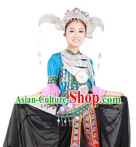 Traditional Chinese Miao Nationality Clothing and Hat for Women