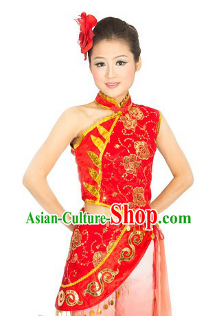 Traditional Chinese Mandarin Yang Ge Dance Costume for Women