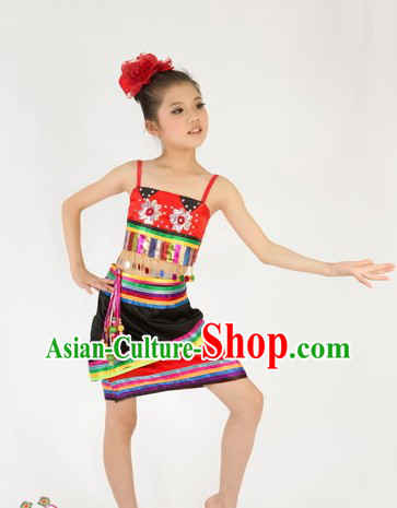 Traditional Chinese Dai Nationality Dance Costumes for Kids