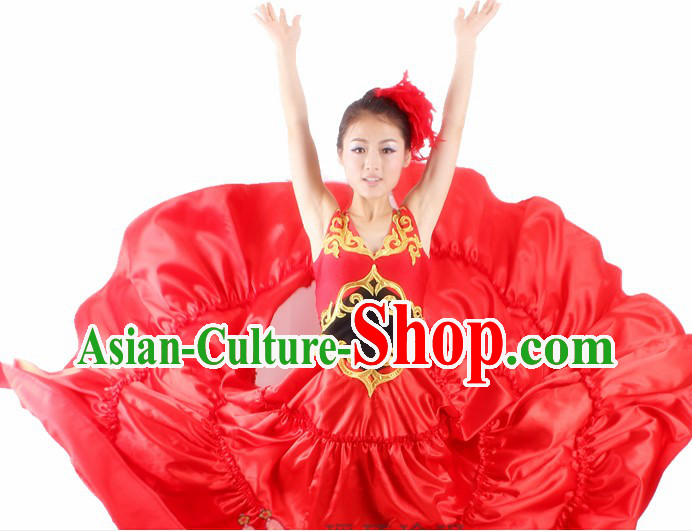 Traditional Chinese Spainish Bullfight Dance Costumes and Headwear for Women