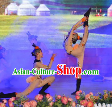 Traditional Chinese Acrobatics Costumes and Headwear Outfit for Children