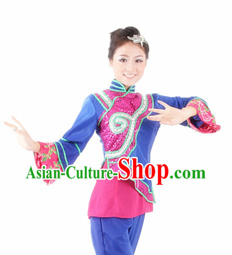 Traditional Chinese Fan Dancing Outfits for Women