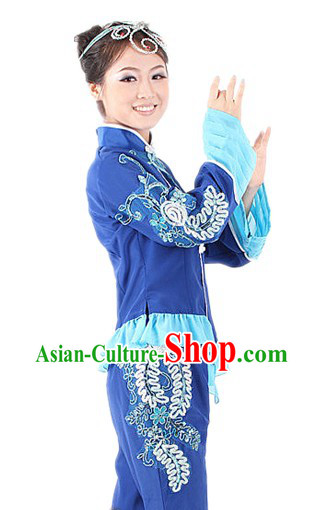 Traditional Chinese Blue Flower Fan Dancing Suit for Women