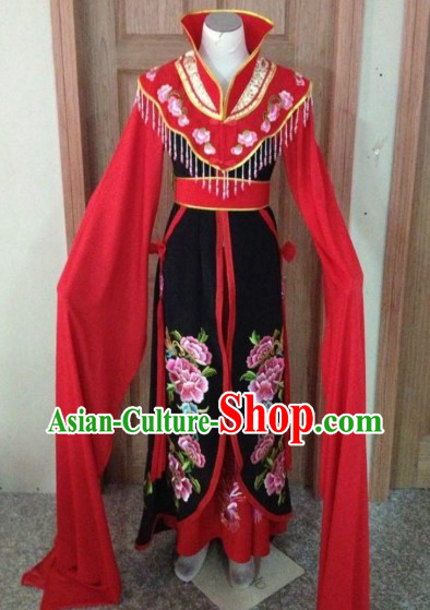 Red Chinese Opera Embroidered Phoenix Wang Xifeng Costumes Complete Set