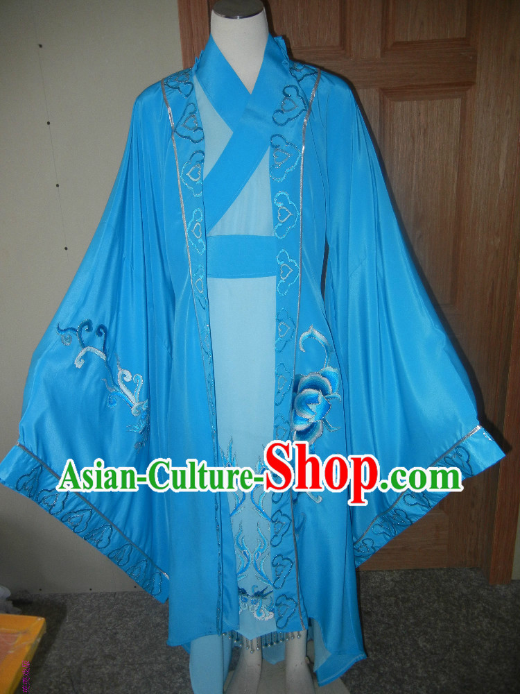 Blue Chinese Opera Embroidered Xiao Sheng Costumes Complete Set for Men