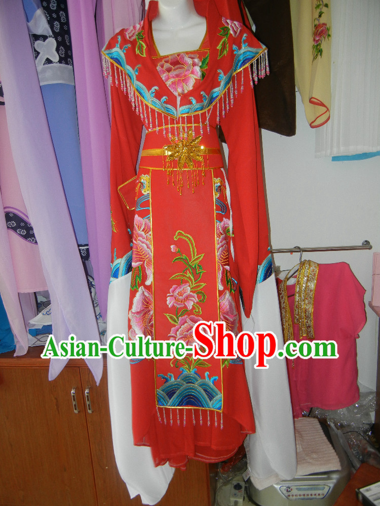 Red Long Sleeves Embroidered Opera Dance Costumes for Women