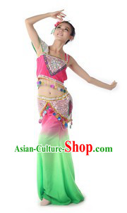Traditional Chinese Dai Minority Dance Costume and Headpiece for Women