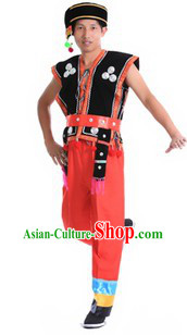 Traditional Chinese Wa Minority Dance Costume and Headpiece for Men