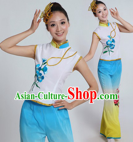 Traditional Chinese Dance Costume and Headpiece for Women