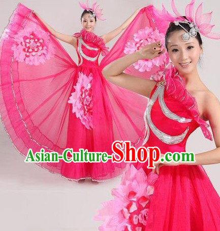 Traditional Chinese Stage Performance Dance Costume and Headpiece for Women