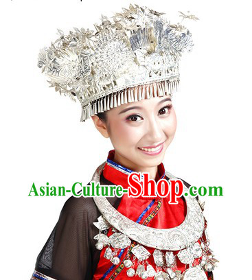 Red Chinese Miao People Clothes and Hat for Women
