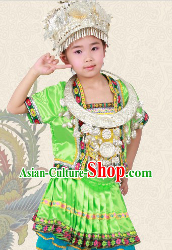 Green Chinese Miao Ethnic Group Clothing and Hat for Children