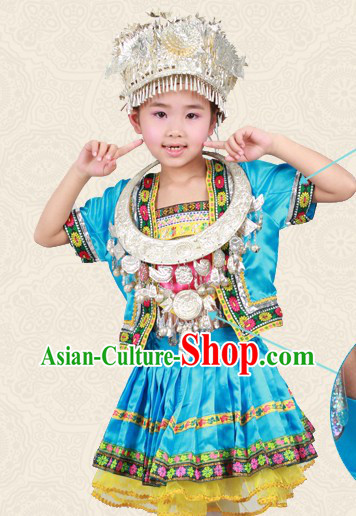 Blue Chinese Miao Ethnic Group Clothing and Hat for Children