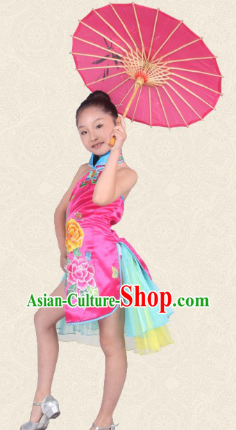 Chinese Traditional Peony Cheongsam Dance Costume for Kids