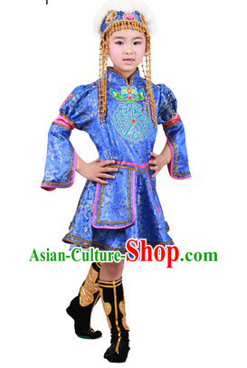 Traditional Mongolian Clothing and Hat for Children