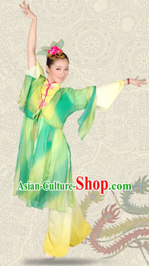Color Transition Chinese Classical Dancing Costumes and Headwear for Women