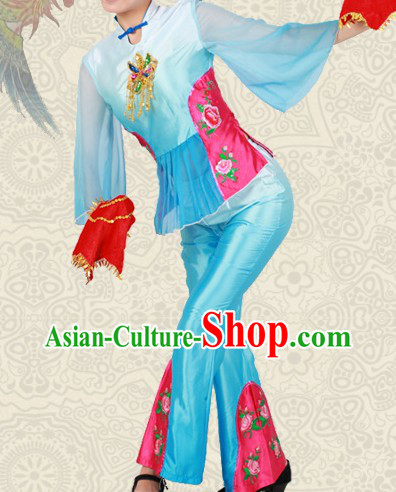 Chinese Classical Yangge Dance Costumes and Headwear for Women