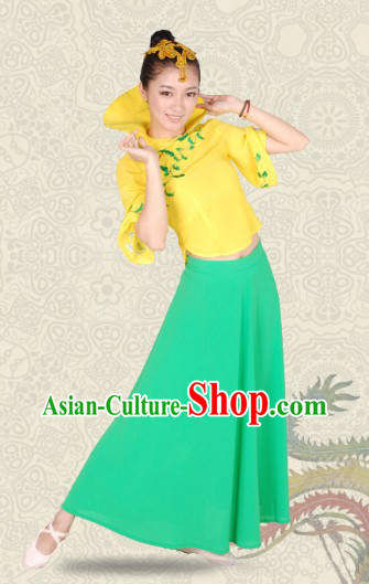 High Collar Chinese Classical Dance Costumes and Headwear for Women