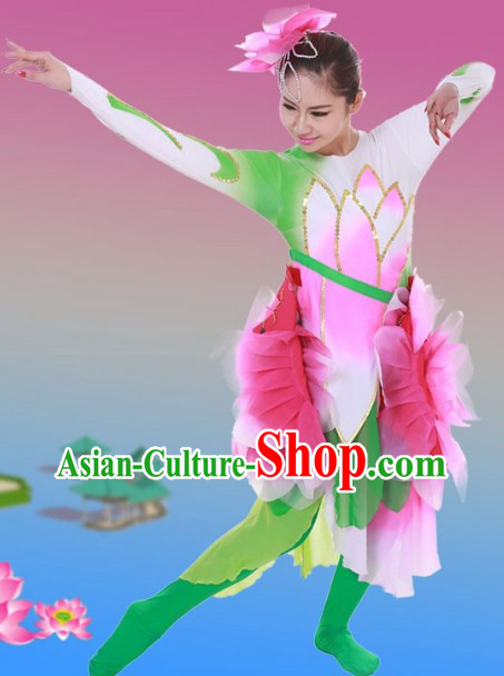 Traditional Chinese Lotus Dance Costumes and Headwear for Women