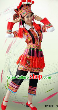 Traditional Chinese Hua Yao Dai Costume and Headwear for Women