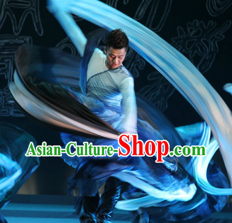 Traditional Chinese Long Sleeves Oil Painting Dance Costumes for Men