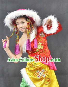 Traditional Chinese Minority Dance Costumes and Hat for Women