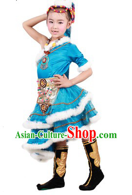 Blue Chinese Tibetan Minority Dance Costumes and Headwear for Kids