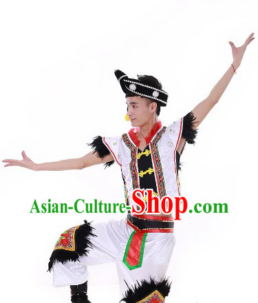 Chinese Festival Celebration Stage Performance Yi People Dance Costumes and Hat for Men