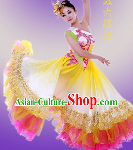 Big Festival Celebration Stage Performance Dance Costume and Headwear for Women