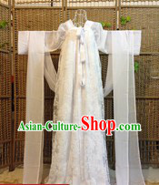 Ancient Chinese White Tang Dynasty Female Ruqun Clothes for Ladies