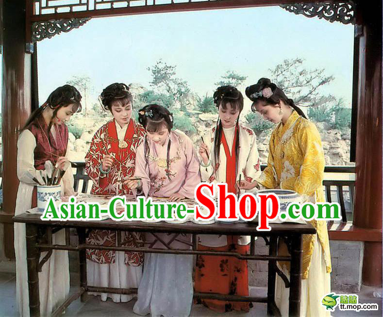Ancient Chinese Dream of Red Chamber Costumes and Hair Accessories for Five People