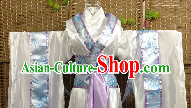 Traditional Ancient Blue and White Fairies Costumes Five Pieces Complete Set