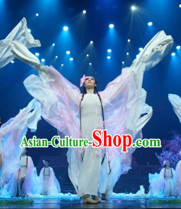 Long Sleeves Chinese Classical Butterfly Dance Costumes and Headpieces for Women