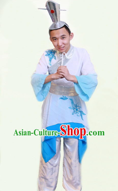 Traditional Chinese Classical Dance Dresses and Hat Complete Set for Men