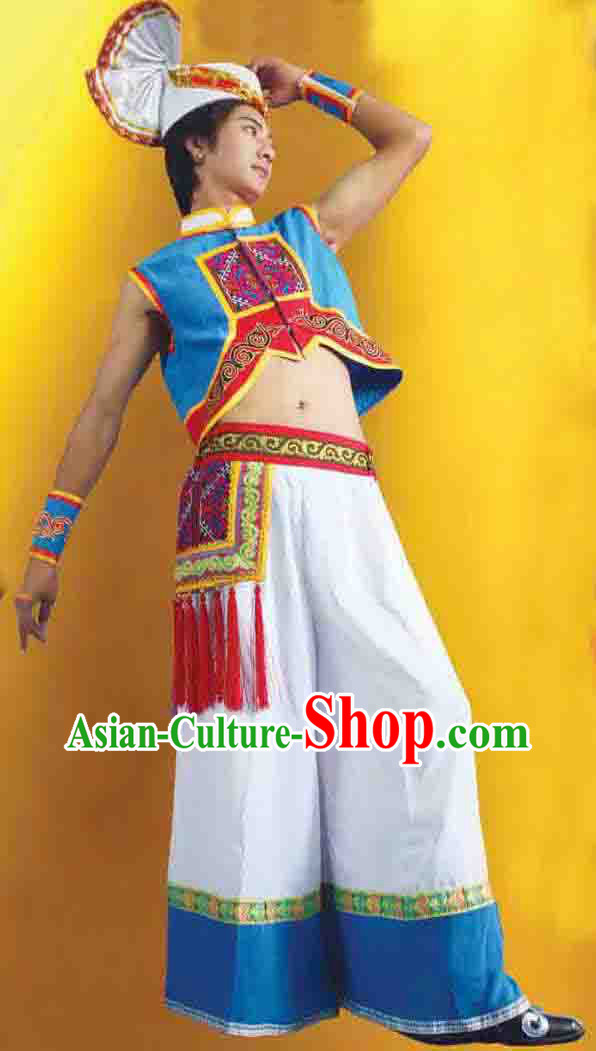 Traditional Chinese Yi Clothes Set for Men