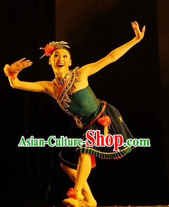 Traditional Chinese Classical Ethnic Costumes and Headpieces Complete Set for Women