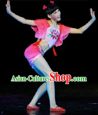 Traditional Chinese Classical New Year Dance Costumes and Headpieces Complete Set for Kids