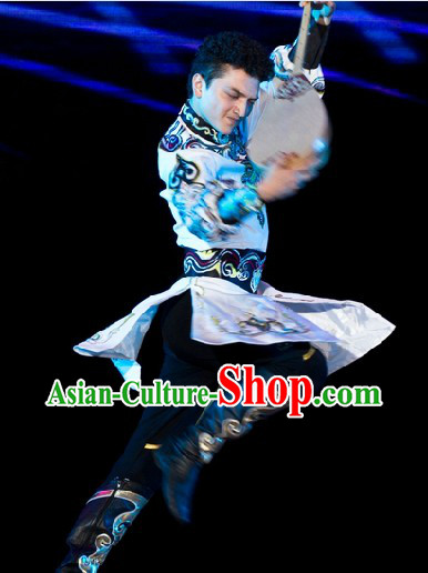 Traditional Chinese Mongolian Clothing Complete Set for Men