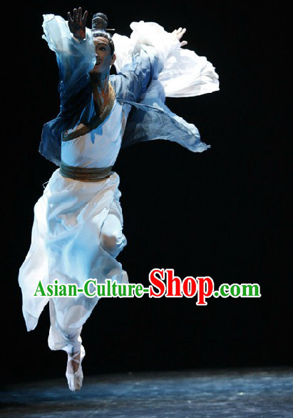 Stage Performance Classical Dancing Costume and Headwear Complete Set for Men