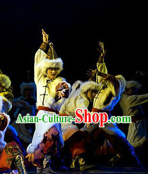 Stage Performance Mongolian Dancing Costume and Headwear Complete Set for Men