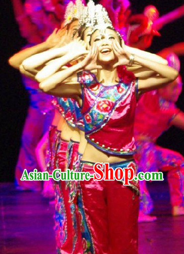 Stage Performance Ethnic Dancing Costumes and Hat Complete Set for Men