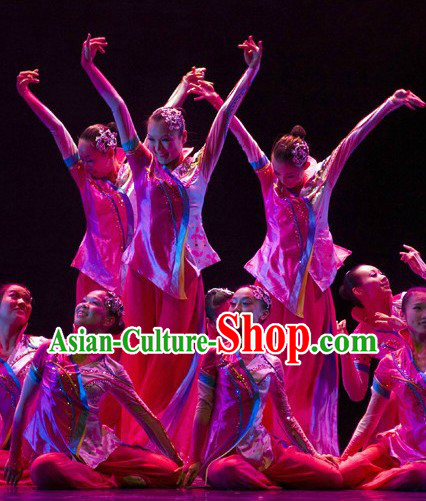 Stage Performance Fan Dancing Costumes and Headpieces Complete Set for Men
