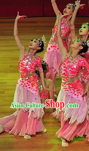 Ancient Chinese Dance Costume and Headpieces Complete Set for Women